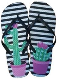 Flip Flops with Cactus, Beach, Pool, Summer Vacation, Medium 7/8