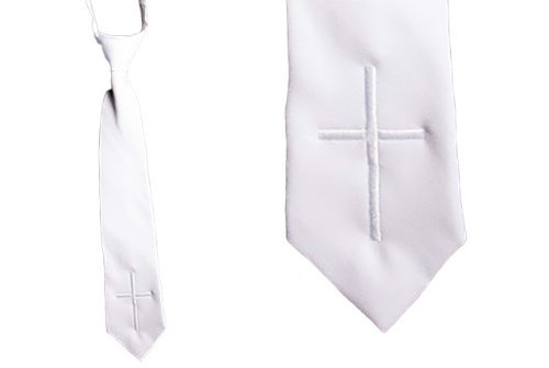Boy's Holy First Communion Zipper Tie - White