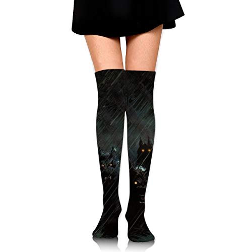 TAKITER Funky Dress Socks Storm Rain Halloween Werewolf Cotton Fun Holiday Socks Winter Warm Cozy Socks for Men Women 1 -