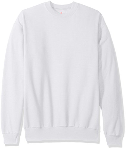 Hanes Men's EcoSmart Fleece Sweatshirt, White, Large ()