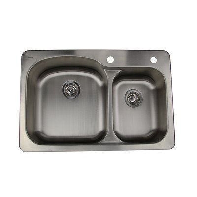 Rimming Self Double Hole Bowl (Self Rimming Offset Double Bowl Kitchen Sink in Brushed Satin)