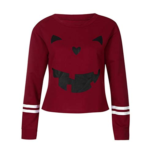 Halloween Party,Gillberry Womens Scary Skull 14D Print Party Long sleeves Top Sweatshirt -
