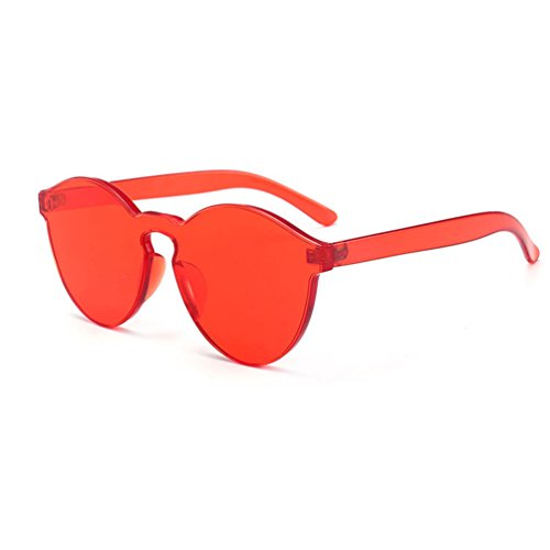 Armear Women Men Oversized One Piece Clear Lens Rimless Tinted Sunglasses 58mm Red