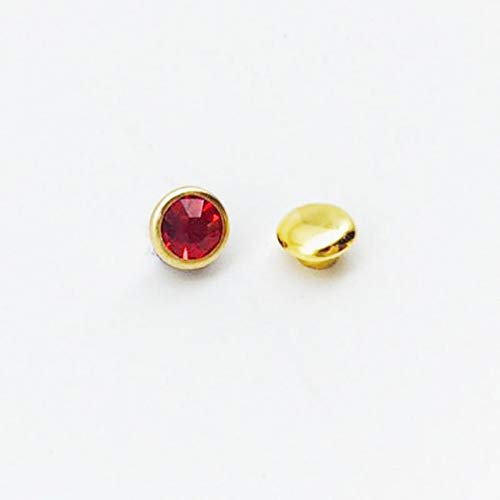 Kamas 50PC/Set Multicolor Rhinestone Rivets DIY Clothing Bag Shoes Crafts Decoration Supplies Garment Sewing Glass Drill Nail Button - (Color: Red Diamonds, Size: 6MM)