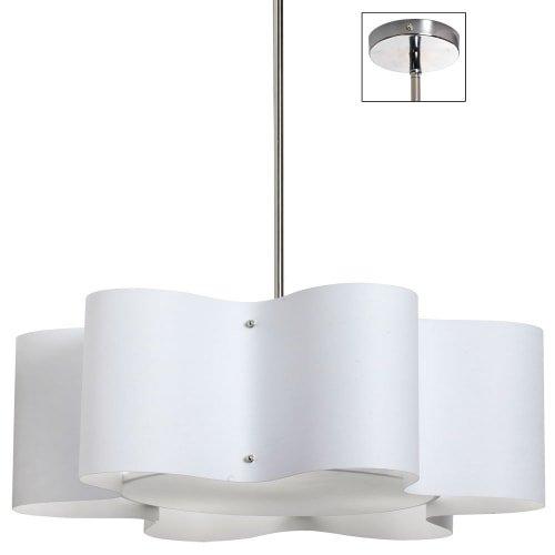 Dainolite Lighting ZUL-243-PC-WH 3-Light Wave Drum Pendant with White (243 Five Light)