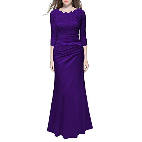 Vestido Las Elegante Temperamento Yuezhang Minimalista Mujeres Noche Fiesta Encaje vestido Purple De pwqdqzXH6x