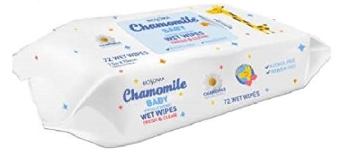 Hypoallergenic Baby Wipes (Biosoma Chamomile Baby Wipes. 72 count. Hypoallergenic. Alcohol Free, Cruelty Free, Natural Chamomile Extract. Made in the USA)