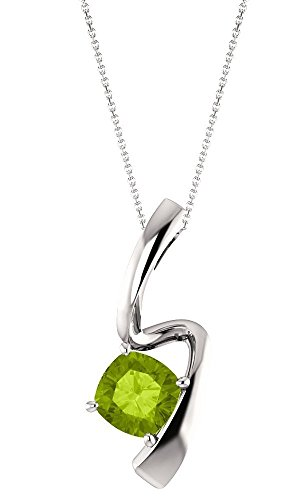 - Sterling Silver 6mm 0.85 Carat Genuine Peridot Swirl Pendant with 18 Inch Chain