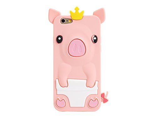 (Casekingdom New 3D Cartoon Pig Soft Silicone Back Case Cover for 4.7 Inch Apple iPhone 6 Beige)