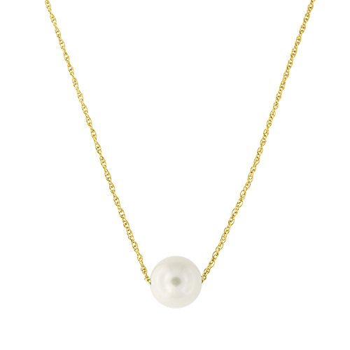 (14k Yellow Gold Rope Chain 7 Millimeters White Freshwater Cultured Pearl Necklace, 16 Inches)