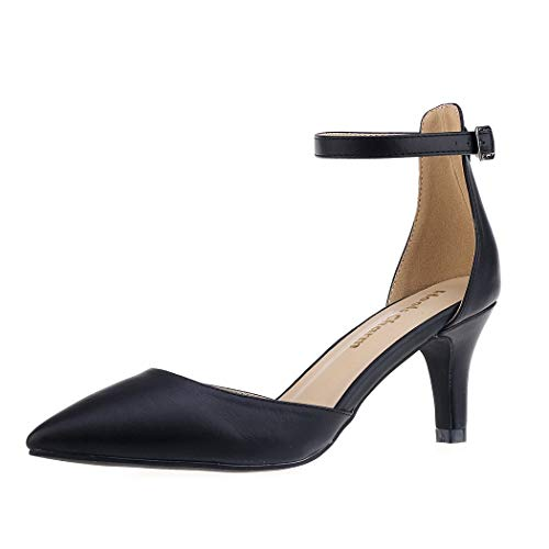 (Women's Heel Pumps Black Size 8.5 Strappy Stilettos Pointed Toe High Heel Dress Shoes)