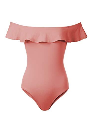 Mauve Stripe Floral - BEYONDFAB Women's Ruffles Off Shoulder Sleeveless Bodysuit Leotards Mauve L