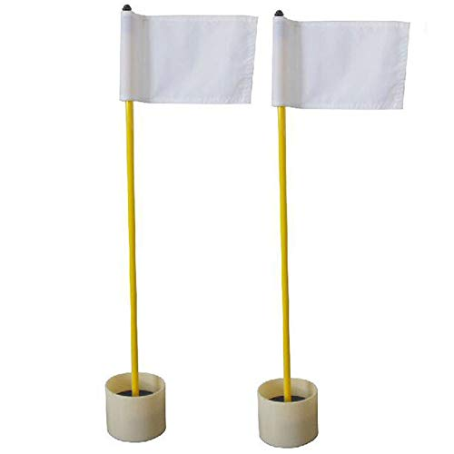 Kofull Backyard Practice Golf Hole Pole Cup Flag Stick, (2 Sets) Nylon Golf Putting Green Flagstick with Cup for Yard (White) - Golf Golf Standard Flag