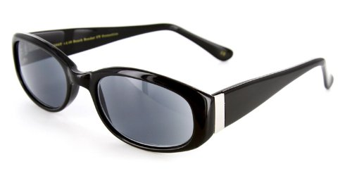 Bimini Fashion Full Reading Sunglasses with Vintage Design and a RX-able Frame - 51mm x 20mm x 140mm (Black/Smoke +2.50)