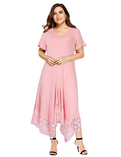 Womens Lace Plus Size Casual V Neck Solid Asymmetrical?Hem High Low Swing Dresses Pink -