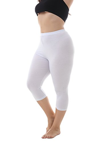 Zerdocean Women's Modal Plus Size Basic Capri Leggings White 3X -