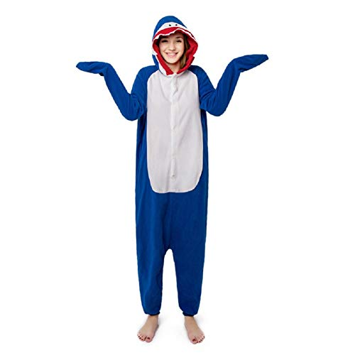 Shark Onesies Cosplay Costumes Animal Pajamas One Piece Halloween Sleepwear Blue L