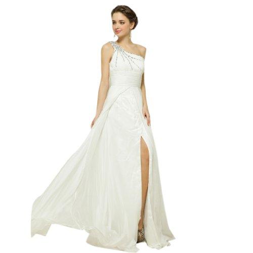 Weiß Reissverschluss Aermellos Schleppe Dearta Linie Pinsel Abendkleider A Chiffon Schulter 1 Kleidungen Damen zqZqw67