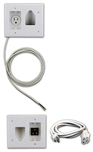 Datacomm 50-3323-WH-KIT Flat Panel TV Cable Organizer Kit with Power Solution - White (Single Panel Flat Small)