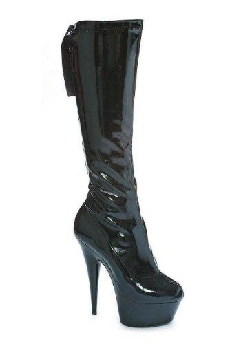 Ellie Shoes Womens 609-lean 6-puntige Stiletto Stretch-kniekous Met Rugveters En Ritssluiting Zwart