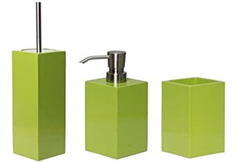 bathroom set soap dispenser toilet brush and toothbrush mug taco lime green