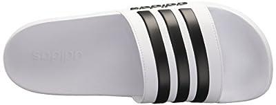 adidas Men's Adilette Shower Slide Sandal, Black/White, 10 M US