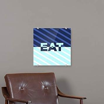 Eat 16x16 CGSignLab Stripes Blue Premium Acrylic Sign