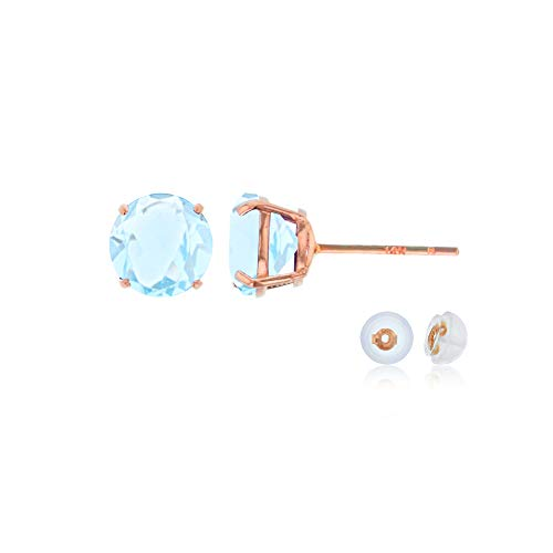 Genuine 14K Solid Rose Gold 6mm Round Natural Aquamarine March Birthstone Stud Earrings