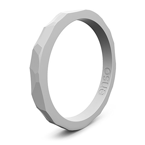 Enso Silicone Ring/Wedding Band. Hammered Design for Men and Women Color: Grey. Size: 6