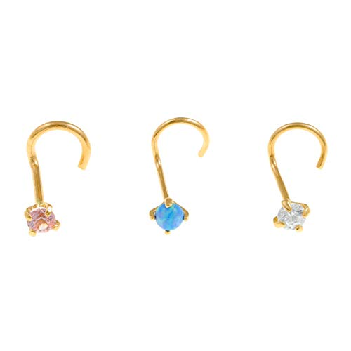 Lavari - 14K Yellow Gold Blue White Pink Cubic Zirconium Nose Ring Set (Ring 14k Cubic Zirconium)