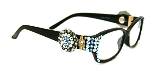 The Medallion, Berry, Women Bling Reading Glasses Adorned with Aquamarine + AB (Aurora Borealis) Swarovski Crystals w Berry Concho +1.50 +2.00 +2.50 +3.00 Black Frame. (Fancy Concho)
