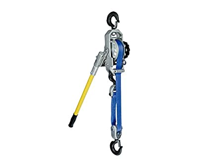 3/4 Ton, Little Mule 322DB Lineman's Strap Lever Hoist, 14 ft. Lift, Hot Stick Ring Hooks with Safety Latches, Part No 04481W