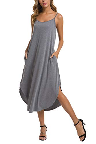AVIIER Women's Sleepwear Casual V Neck Nightshirt Sleeveless Nightgown (XXL, Gary) Gray