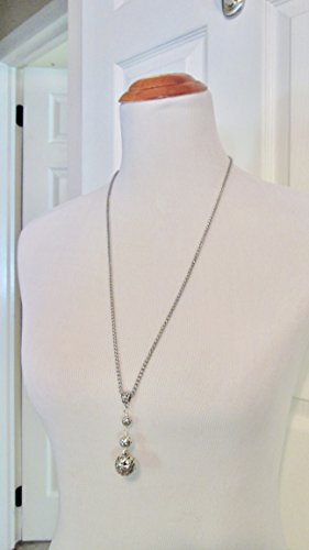 Extra Long Silver filigree graduated ball necklace with stainless steel chain 28