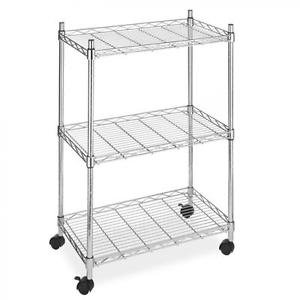 NEW Wire Shelving Cart Unit 3 Shelves w/casters Shelf Rack Wheels Chrome from Genric