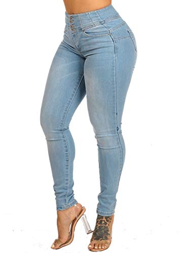ModaXpressOnline Light Wash High Waisted Butt Lifting 4 Button Skinny Jeans 10918R