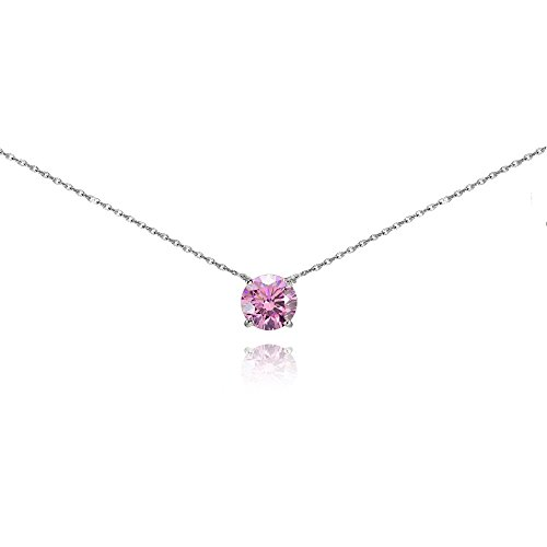 Sterling Silver Light Rose Solitaire Choker Necklace set with Swarovski Crystal