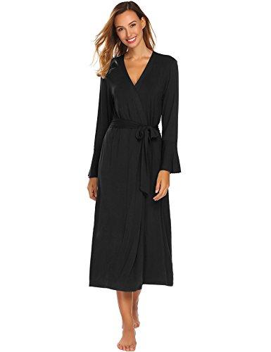 Waltz Length Gown (Ekouaer Women's Robes Modal Comfort Long Nightwear Stretchy Waltz Gown Black M)