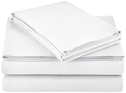 (100% Cotton Sheets - Real 800 Thread Count 4 Piece Bed Sheet Set - Soft & Smooth Hotel Luxury 4pc Sheet Set Solid 15 inches Deep Pocket (Queen, White))
