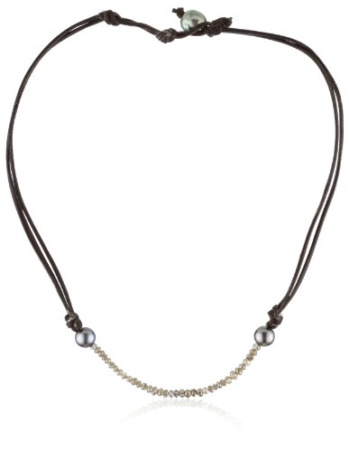 Kala Champagne Diamonds and Tahitian Pearls on Leather Necklace