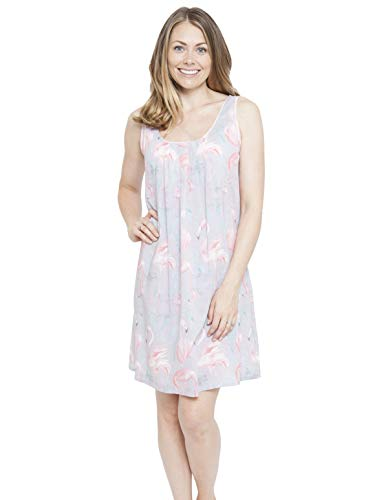 Cyberjammies 4114 Women's Zara Grey Flamingo Print Night Gown Loungewear Nightdress