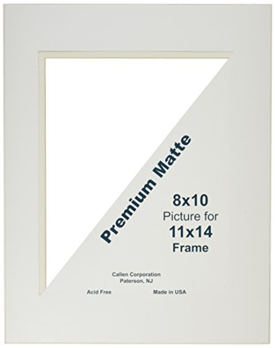 Callen HC1114-11001 Single Hand Cut Photo Mat with Bevel Edge, 11-Inch x 14-Inch, Ivory/White Core ()