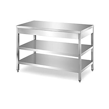 Mesa de acero inoxidable con 2 estantes sin Alzatina Dim. cm ...