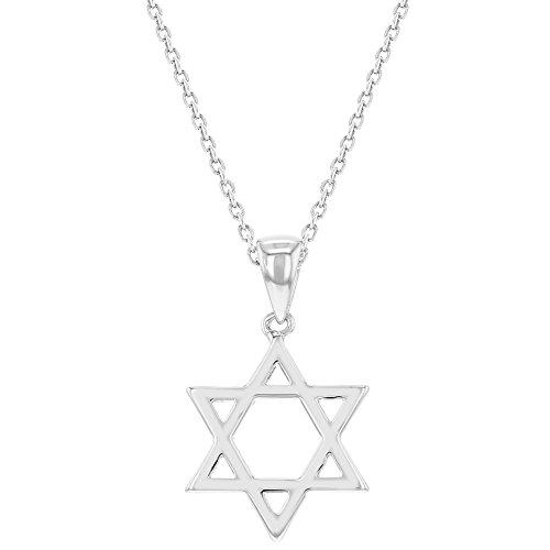 Girl Jewish (In Season Jewelry Rhodium Plated Plain Small Star of David Necklace Jewish Girls Kids Pendant 16