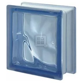 Quality Glass Block 7.5 x 7.5 x 3 Design Blue Color Glass Block