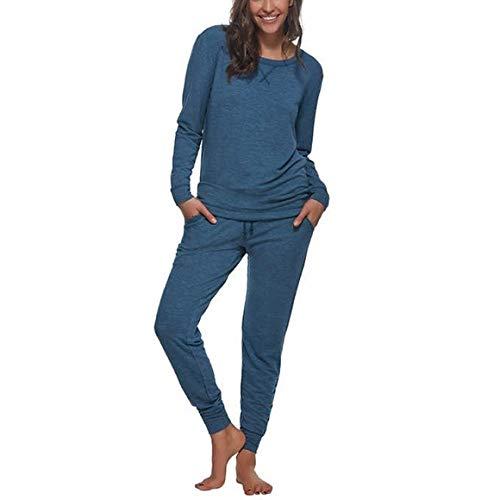 Felina Women's 2 Piece Lounge Pajama Set (Mykonos Blue), Small