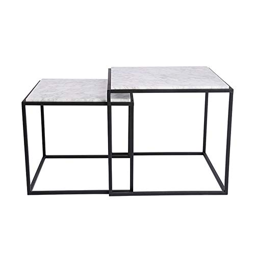 XIAOYAN Marble Coffee Table Living Room Wrought Iron Nesting Table High and Low Table Combination for Small Unit Pack of 2 (Square Nesting Tables Iron)