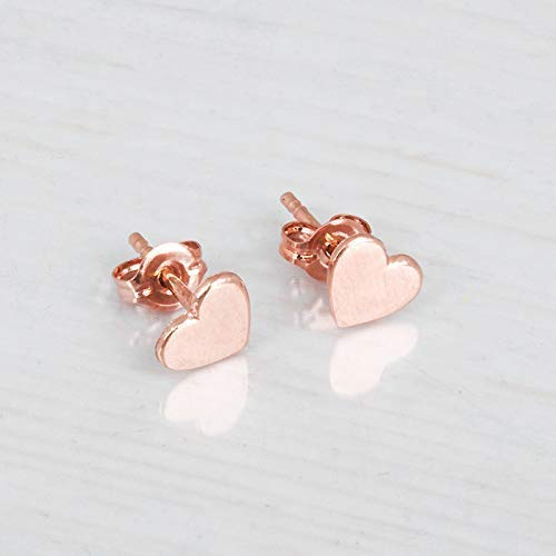 Rose Gold Heart Stud Earrings - Handmade 6mm Minimal Posts -