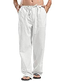 Oyamiki Mens Linen Cotton Beach Pants Casual Summer Elastic Waist Loose Trousers Cargo Beach Pant