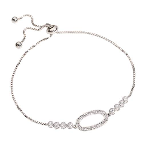 YOMEGO 14K Real Gold Plated Charm Adjustable Bracelet Elegant Jewelry Gift - Great for Women Or Girls (Silver)